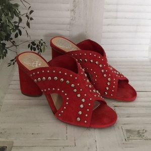 Vince Camuto red suede studded heeled sandals